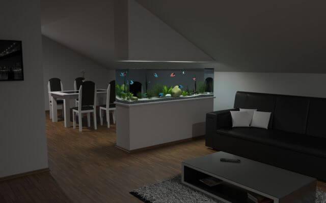Aquarium sebagai sekat dinding