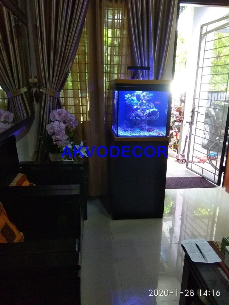 Posisi aquarium tampak pada ruang tamu